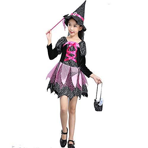 🎃 Romantic Halloween Kostüme Kinder Baby Kleid Mädchen Festlich Halloween Cosplay Tutu Kleid Party Langarm Hexenanzug Tutu Funktionsbekleidung + Hexehut + Zauberstab + Einkaufstasche 4er Set
