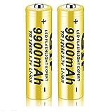 Tatoonly 18650 Batería Recargable de Iones de Litio 3,7 V 9900 mAh Baterías de Litio de Gran Capacidad Accesorios Seguros Linterna LED, Dispositivos electrónicos, etc. 1/2/4 Piezas (Amarillo) (2 pcs)