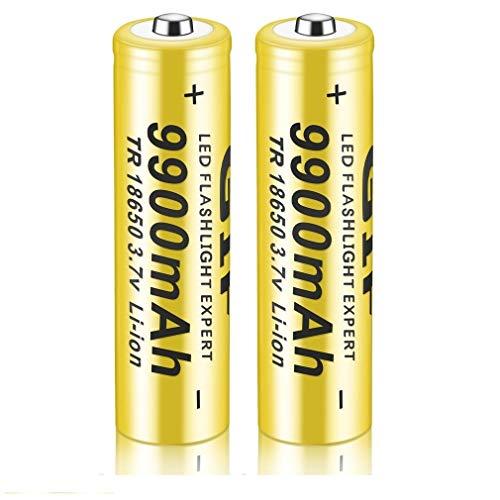 18650 Li-ION Rechargeable Batterie 3.7V 9900mAh Batteries au Lithium de Grande capacité Accessoires sûrs pour Lampe de Poche LED, appareils électroniques, etc. 1/2/4 pièces (jaune) (1 pcs)