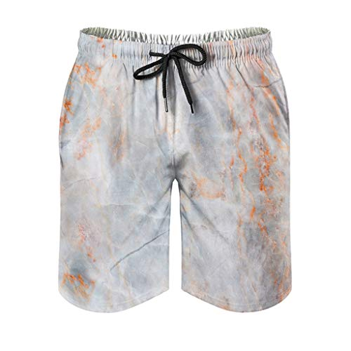 Bañador para hombre con textura de mármol, para verano, estilo moderno White5 XL