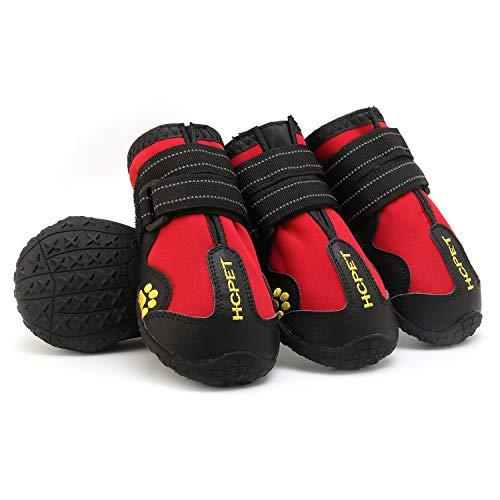 AILOVA Hundeschuhe, 4er-Set Stoff PU-Leder wasserdicht Schützen Sie Schuhe für Hunde Outdoor-Sport Nicht zu verletzen (M,Rot)