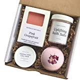 Bearhug Naturals Pink Grapefruit Spa Set for Women - All Natural Vegan, Spa Gift Box Ideas for Mom and Women on Birthdays, Valentines and Holidays - Graduation Appreciation Gift for Teachers
