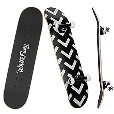 WhiteFang Skateboards for Beginners, Complete Skateboard 31 x 7.88, 7 Layer Canadian Maple Double Kick Concave Standard and Tricks Skateboards for Kids and Beginners by WhiteFang