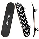 WhiteFang Skateboards for Beginners, Complete Skateboard 31 x 7.88, 7 Layer Canadian Maple Double Kick Concave Standard and Tricks Skateboards for Kids and Beginners (Arrow)