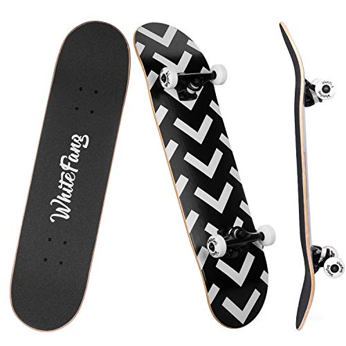 WhiteFang Skateboard Complete Skateboards 31 x 7.88, 7 Layer Canadian Maple Double Kick Concave Standard and Tricks Skateboards for Beginners, Skateboard for Kids (Arrow)