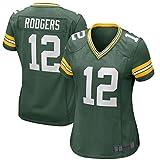 NMLB Maillot de Rugby pour Homme 12# Aaron Rodgers - Sweat-Shirt de Football américain à séchage Rapide Green Bay Packers pour Femme Women's Game Jersey-L