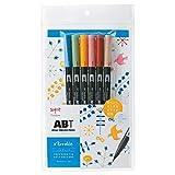 トンボ鉛筆 筆ペン デュアルブラッシュペン ABT 6色セット ノルディック AB-T6CNR