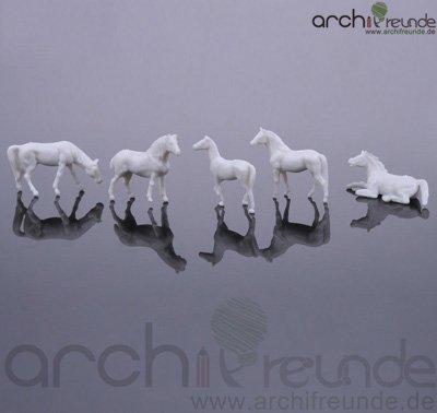 10 x Modell Pferde, weiß, für Bauernhof Modellbau Modelleisenbahn Spur H0