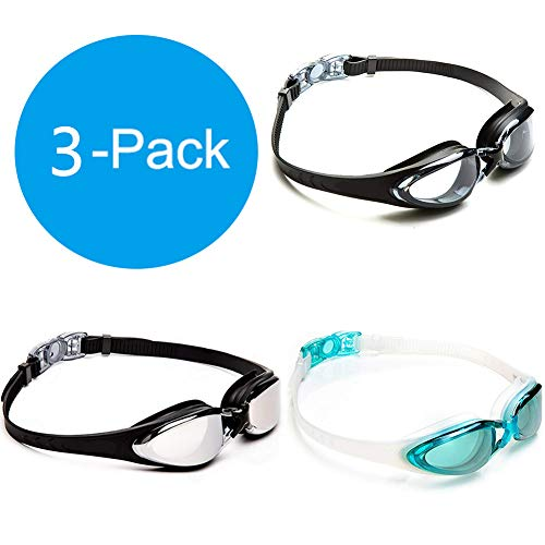 GNYO Swim Goggles - 3 PCS Swimming Goggles with No Leaking Anti Fog UV Protection Triathlon Swim Goggles for Adult Men Women Youth Kids Child