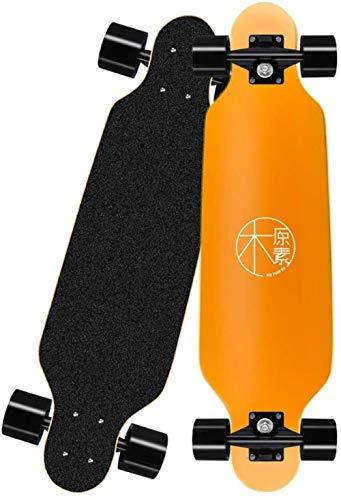 YAYY Pro Skateboard 31 X 7,8 Longboard Skateboards Cruiser Complete Maple 7 Capas ABEC-7 Bearing Longboard Skate Board Blanco-Naranja Upgrade