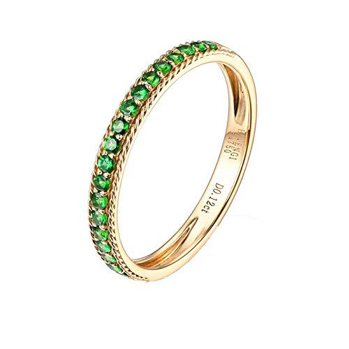KnBob 18k Yellow Gold Simple Thin Ring Green Round 0.21CT Tsavorite Ring for Women Promise Rings for Her Size I 1/2