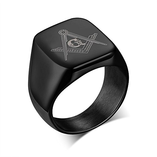 Stainless Steel Polished Men's Freemason Masonic Symbol Signet Rings Bands, Black,Size 11