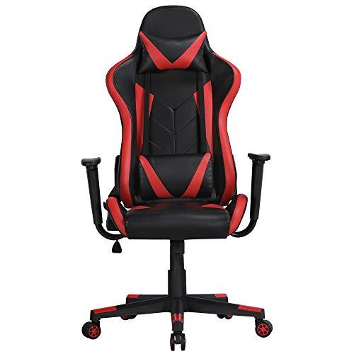 Yaheetech Gaming Stuhl aus Kunstleder PC Stuhl mit hoher Rückenlehne Computerstuhl Racing Chair Einteiliger Stahlrahmen Einstellbarer Neigungswinkel