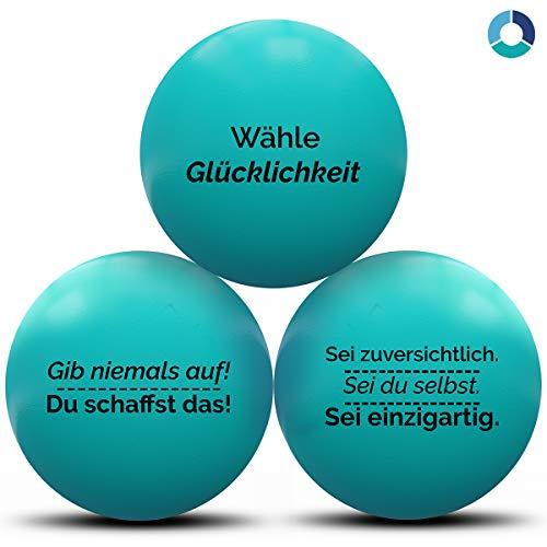 MindPanda 3X motivierende Stressbälle von Der perfekte Anti-Stressball für Erwachsende und Kinder zur Unterstützung bei Stressabbau und Angstzuständen. … (Teal, Medium)