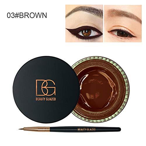 Glitter Eyeliner, Set de delineadores de ojos esmaltados, gel de delineador de ojos esmaltado de belleza de larga duración sin manchas con pincel para maquillaje de cosplay de fiesta de boda