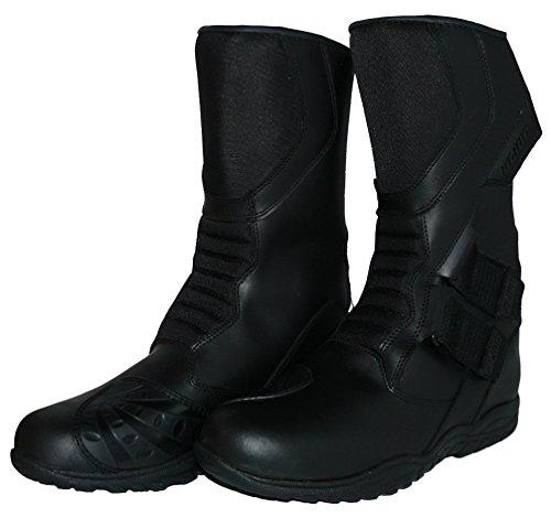 Protectwear TB-ALH-44 Motorradstiefel, Tourenstiefel, Allroundstiefel aus schwarzem Leder mit Klettverschluss, Größe 44, Schwarz - 4