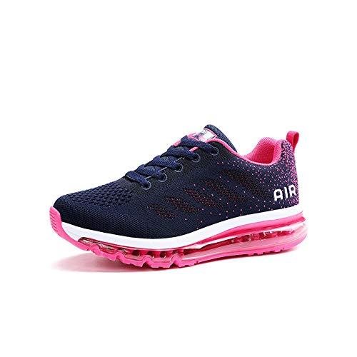 Damen Sportschuhe Herren Laufschuhe mit Luftpolster Turnschuhe Sneakers Leichte Sport Schuhe Outdoor Trainers Blue 39 EU