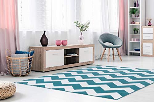 One Couture Zick Zack Teppich Modern Flachflor Teppiche Arabesque Teppich Scandic Türkis, Größe:80cm x 250cm