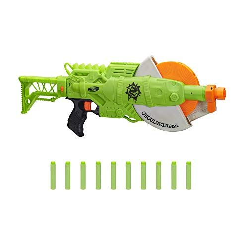 NERF Zombie Strike Ghoulgrinder Blaster -- Rotating 10-Dart Wheel, 10 Official Zombie Strike Elite Darts -- for Kids, Teens, Adults