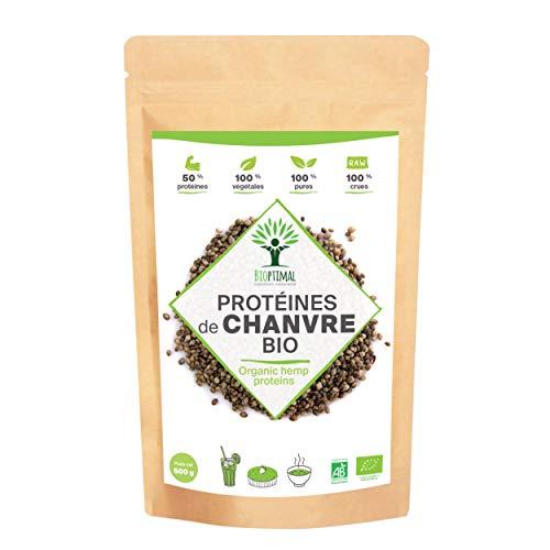 Poudre de Protéine de Chanvre Bio - Bioptimal - BCAA - Protéine de Chanvre Crue Cultivée en Europe 100% Pur - 50% de Protéines 21% de Fibres - Source Oméga 3 - Made in France - Certifié Ecocert 500 g