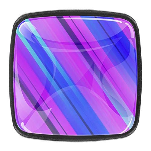 Schrankknöpfe aus ABS-Kunstharz, quadratisch, für Schränke, Schubladen, Schlafzimmer, Kleiderschrank, Badezimmer, Hardware, diagonale Linien, 4 Stück