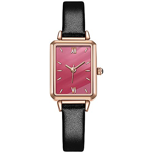 Reloj De Mujer Vintage Placa Cuadrada Pequeña Reloj De Moda Movimiento De Cuarzo Hebilla De Herradura Espejo De Vidrio Templado Mineral Correa De Cuero Relojes De Pulsera para Mujeres