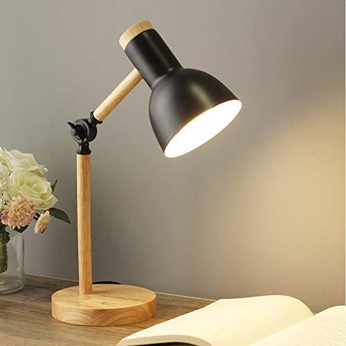 Chao Zan Lámpara de escritorio giratoria de madera-E27-lámpara de mesa retro con brazo articulado ajustable-lámpara de noche vintage-lámpara de estudio-lámpara de trabajo-lámpara de oficina-negro