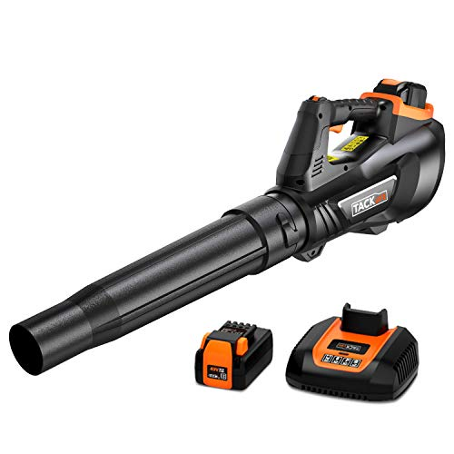 TACKLIFE 40V Leaf Blower, Professional and Brushless Motor, Cordless Blower, 180km/h Maximum Air Speed, 710 m³/ h Air Volume, Axial Flow Design, 5 Adjustable Speeds, Battery and Charger - GLB01A