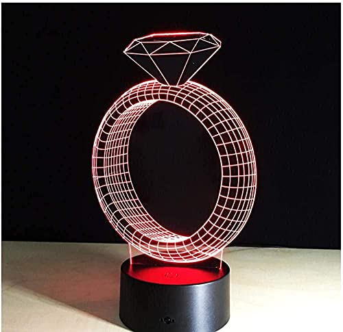 LED 3D Ilusión de luz nocturna lámpara para sala de estar Boda con anillo de diamantes para hombres, mujeres, niños, niñas, regalo Cambio de color colorido, con interfaz USB