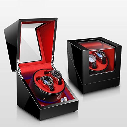 Caja Giratoria para Relojes Estuche de lujo con caja de enrollador de reloj automático doble for 2 relojes de pulsera con motor Mabuchi silencioso - 5 modos de rotación, luz ambiental LED, laca de pia