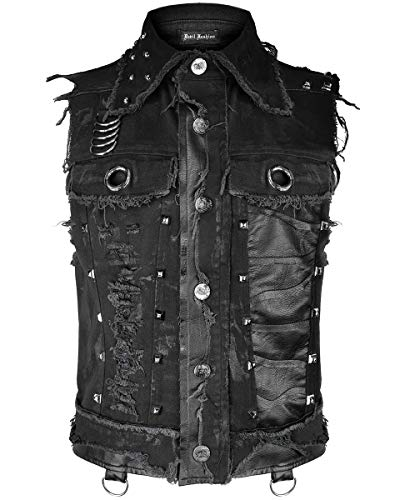 Devil Fashion Hombre Gótico Punk Chaleco Top Negro Dieselpunk con Tachuelas Destruido Distópico Motero Camisa sin Mangas Cortado Apocalíptico Grunge - Negro, XL