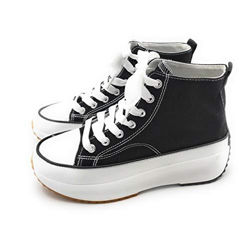 Zapatillas de Lona, Zapatillas con Plataforma Mujer, Zapatillas de Moda. (36 EU, Numeric_36)