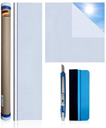 X-Solutions® Fensterfolie | Milchglasfolie | Sichtschutzfolie | Fenster Scheibenfolie Blickdicht | Anti-UV statische privatsphäre Schutzfolie | matt Frosted für Bad, Büro, Wohnzimmer | 60 x 200CM