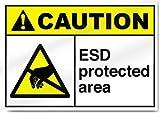 Yilooom ESD - Pegatina de advertencia de área protegida de vinilo para señal de alerta de 7 x 10 pulgadas