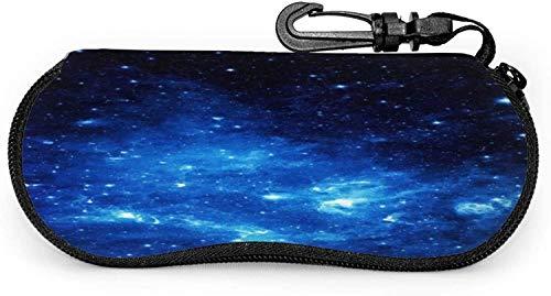 Funda para gafas espacial Galaxy Nebulas Azul Spectacle Case Box Resistente a los arañazos Portátil Viaje Gafas de Sol Soporte Clamshell Ligero Protector Shell Soporte con Gancho Clip Para Unisex
