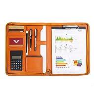 Leathario Portfolio A4 File Folder Padfolio Writing Pad Business Presentation Folder PU Black (Orange)