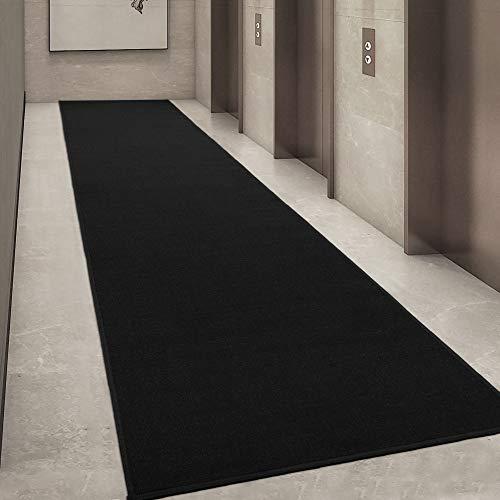 "Ottomanson Ottohome Collection Solid Design Runner Rug, 1'10"" X 12', Black"