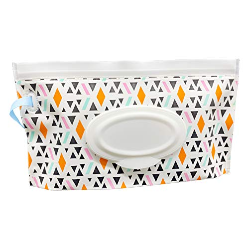 VOONGOR Portable Refillable Wet Wipe Container, Reusable Travel Wipes Holder & Case, Lightweight Flushable Diaper Wipes Pouch for Baby (Geometrical Pattern)