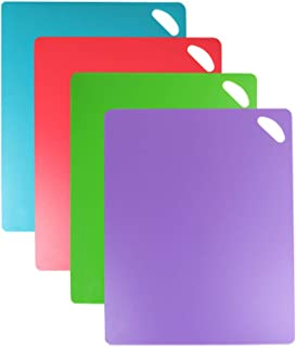 Flexible Cutting Board, Plasitc Chopping Mat Color Coded With Hanging Hole Easy-Grip Non-Slip Dotted Texture BPA-Free Food Cutting Mat Set For Kitchen Bar RV - Set of 4
