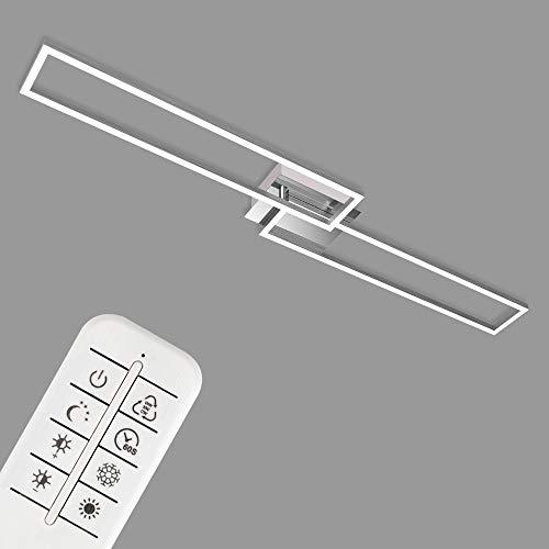 Briloner Leuchten - Plafoniera a LED, Lampada da soffitto dimmerabile con Telecomando, Luce calda, neutra, fredda, 1100x248x78mm, LED integrati 40W, 4400Lm, un rettangolo ruotabile, Cromato/satinato