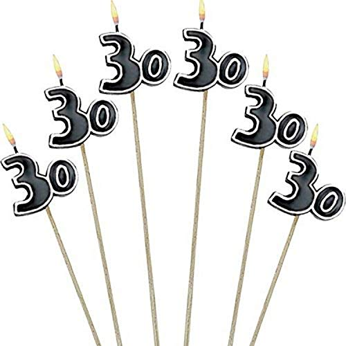 """Amscan The Party Continuous 30th Birthday Party Molded Candle on a Stick Decoration, Pack of 6, Multi , 9 1/2"""" Wax, stick"""