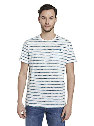 TOM TAILOR Herren Ombre Print T-Shirt, 22375-teal Spacedye Stripe, L