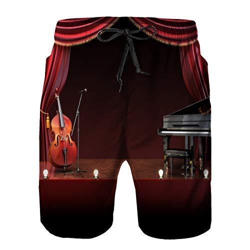 saletopk Bañador De para Hombre Pantalones Playa Shorts, Teatro Musical Orquesta Sinfónica Tema Escenario Cortinas Piano Violonchelo Secado Rápido Ligero Baño Cortos 3XL