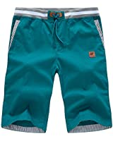 QPNGRP Mens Shorts Slim Fit Drawstring Shorts for Men DK2007 Green 34