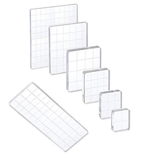 YXHZVON 7 STK Acryl Stempelblock Set, Acryllblock mit Gitterlinien,Transparent Acrylblock Stempel Stanzblöcke für Scrapbooking,Kartenherstellung