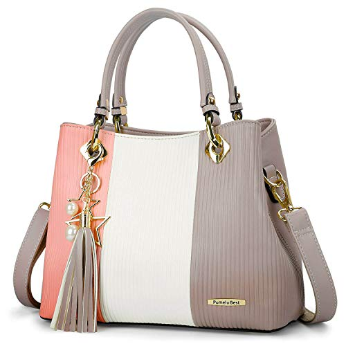 Multiple Internal Pockets:the handbag has lots of intermal pockets to separate things and making them easy to find. Pretty Color Combination: the colors are really lovely and it's perfect for any age on different occasions. Made of Premium PU Leather...