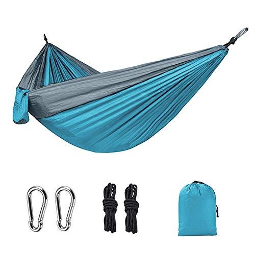 Wghz Outdoor Hammock, Lightweight Nylon Hammock, 270x140cm Best Double Hammock for Outdoor Hiking Travel Beach Yard (Blue/Grey)