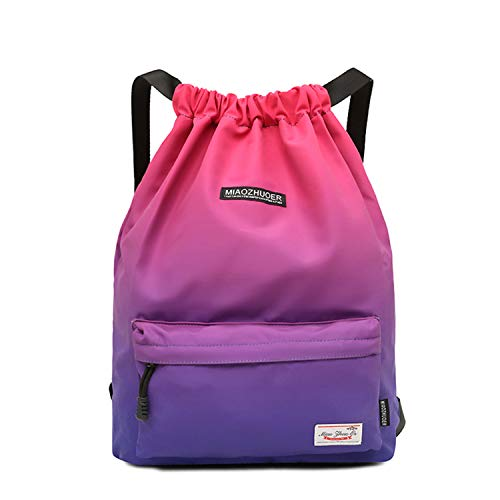 Waterproof Drawstring Bag, Gym Bag Sackpack Sports Backpack for Men Women Girls (51-purple and rose red)