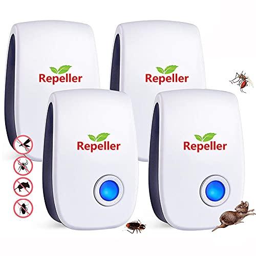 Repelente Ultrasónico de Plagas,Electrónico Repelente Mosquitos Insectos para Interiores Anti Cucarachas, Moscas,Mosquitos,Ratones,Arañas,100{c10ba55054ff8b8d5aced3f235d4df8894f725d11780f0e0770e66825d554ce3} Inofensivo para Mascotas y Humanos(No Tóxico)