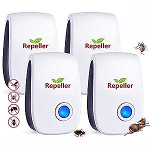 Repelente Ultrasónico de Plagas,Electrónico Repelente Mosquitos Insectos para Interiores Anti Cucarachas, Moscas,Mosquitos,Ratones,Arañas,100% Inofensivo para Mascotas y Humanos(No Tóxico)